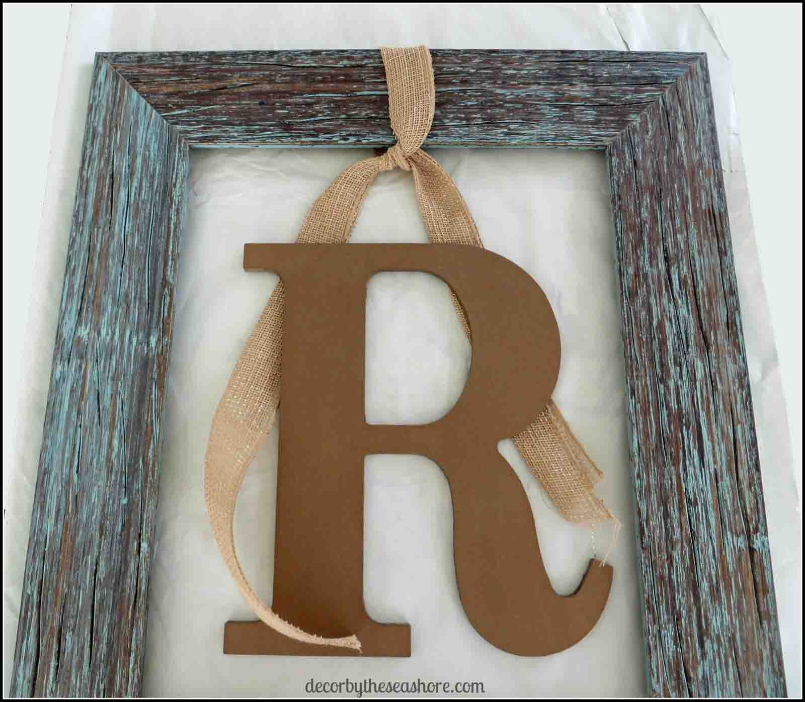 Framed Monogram Ribbon- Decor by the Seashore