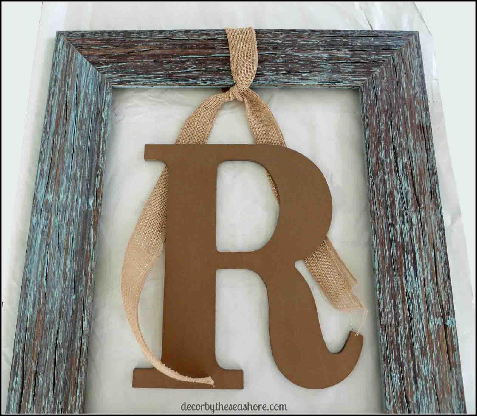 Framed Monogram Ribbon- Decor by the Seashore