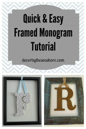 How cute it this framed monogram? What a perfect idea for the entryway! This would also be a great personalized wedding gift idea! | decorbytheseashore.com