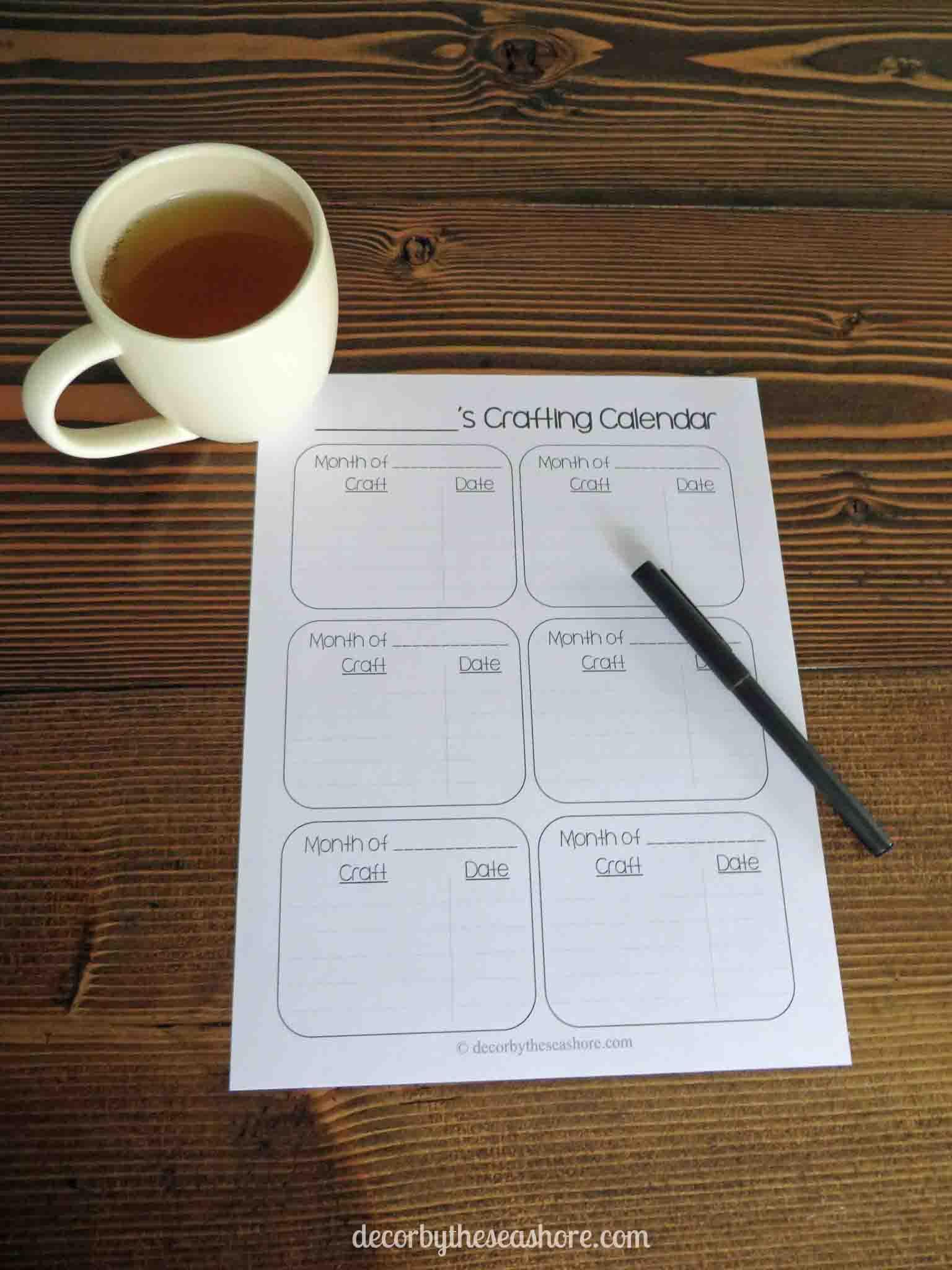 Crafting Calendar Free Printable Printed