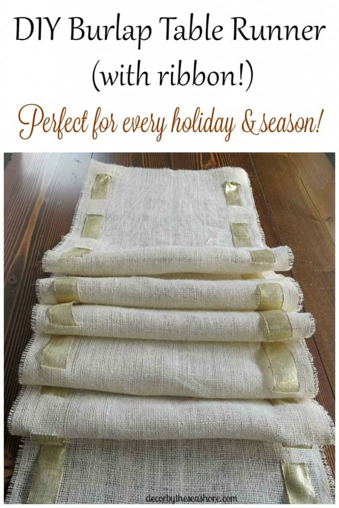 How gorgeous is this DIY burlap table runner? I'm in love with that gold ribbon woven through it! So pretty and it's interchangeable, so it's perfect for any holiday or season! Get the full tutorial here! | decorbytheseashore.com