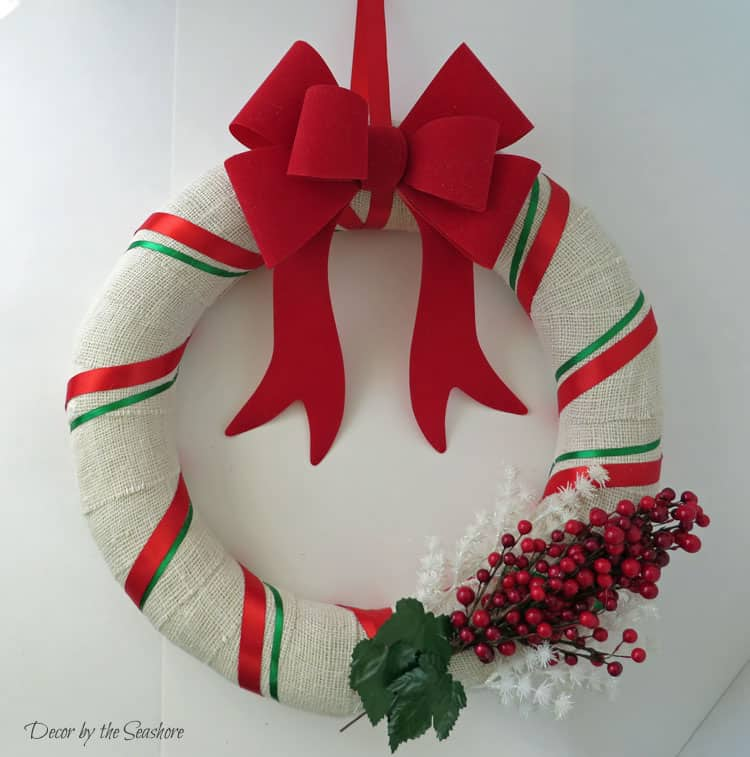 Diy Christmas Burlap Wreath Tutorial Decor By The Seashore