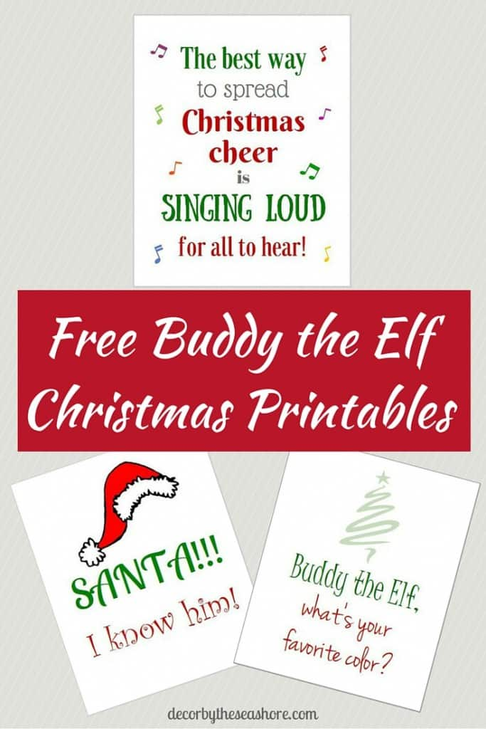 It's not Christmas without some fabulous Christmas printables featuring Buddy the Elf! Get your free Elf printables here! | decorbytheseashore.com