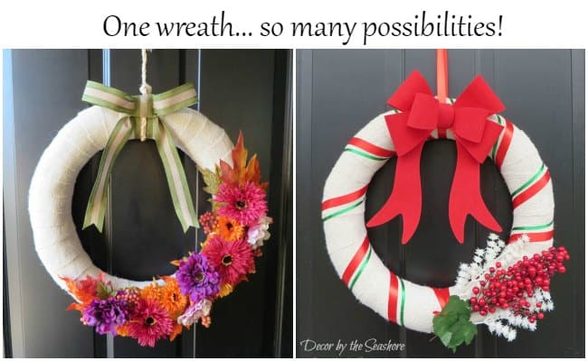 Can you believe how easy it is to use the same wreath for every holiday? What a great way to save money and storage space! I am loving these interchangeable wreath ideas! | decorbytheseashore.com