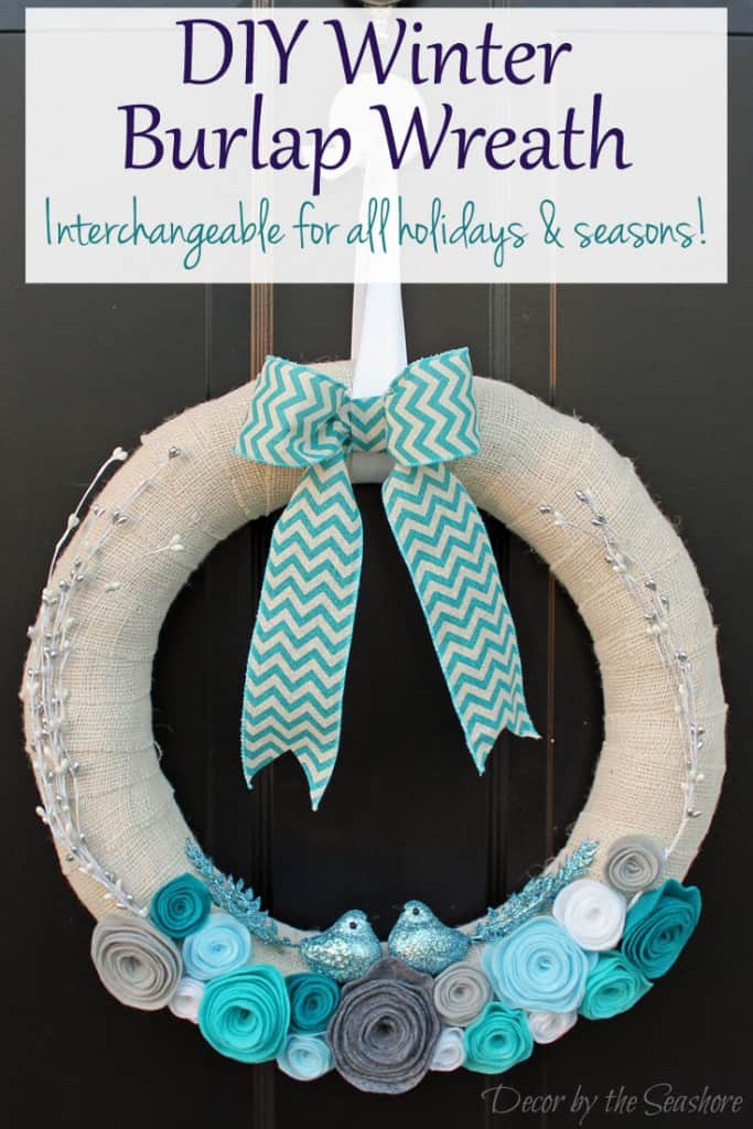 How beautiful is this DIY winter burlap wreath? I can't get enough of those little birds! Best of all, it's an interchangeable wreath, so you can change it for every holiday and season! | decorbytheseashore.com