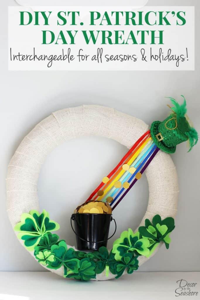 Diy St Patrick S Day Burlap Wreath Tutorial Decor By The Seashore