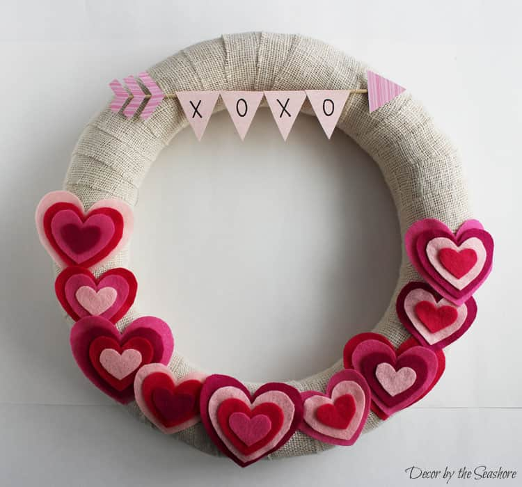 Diy Valentine S Day Burlap Wreath Tutorial Decor By The Seashore
