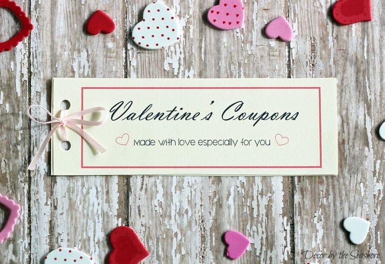 Looking for the perfect Valentine's Day gift for that special someone? Check out these FREE Valentine's Day coupons! These free printables are blank, so you can completely customize them for anyone and everyone! Download the free printable here! | decorbytheseashore.com