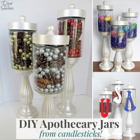 DIY Apothecary Jars from Candlesticks