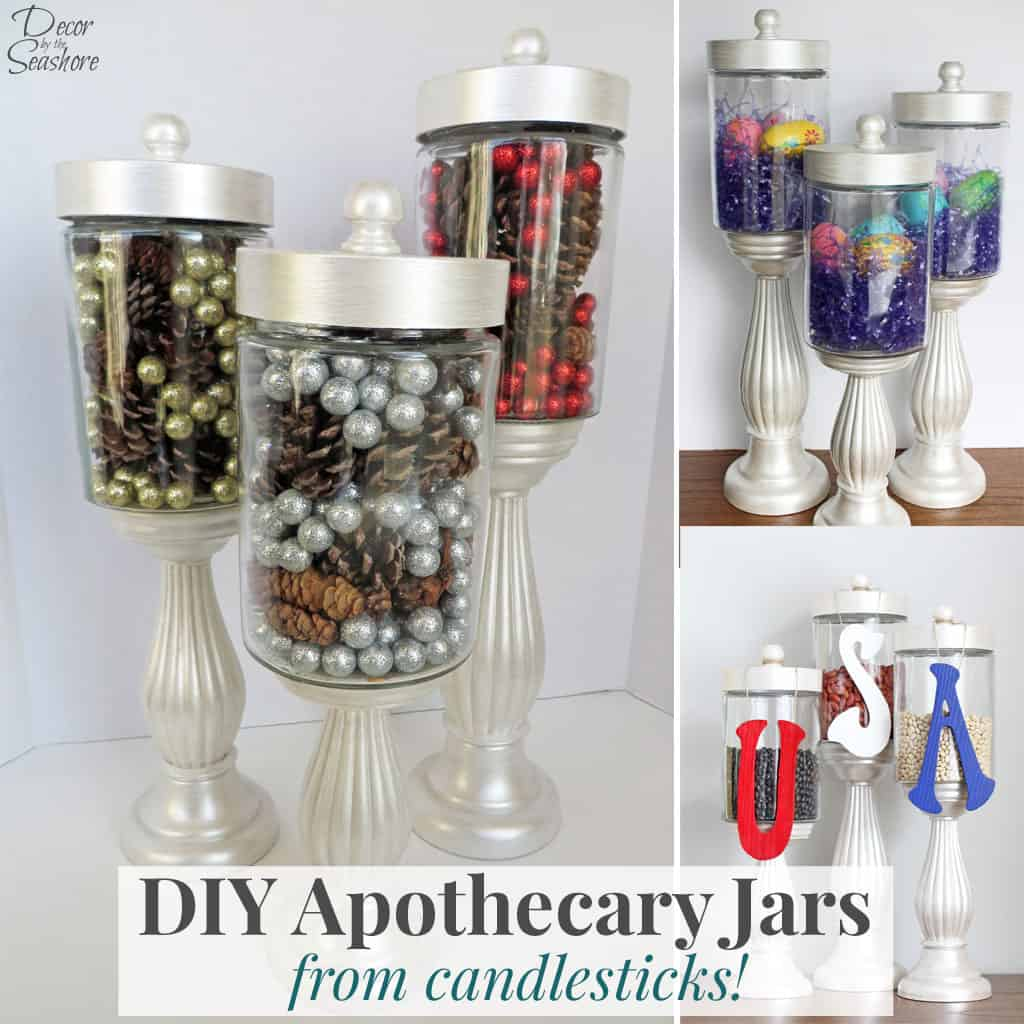 Making your own DIY apothecary jars is SO MUCH cheaper than buying them at the store. Plus these apothecary jars are the perfect holiday decoration. Just change out the filler each season for some beautiful seasonal decor! Check out the easy tutorial and get some ideas for jar fillers here! | decorbytheseashore.com