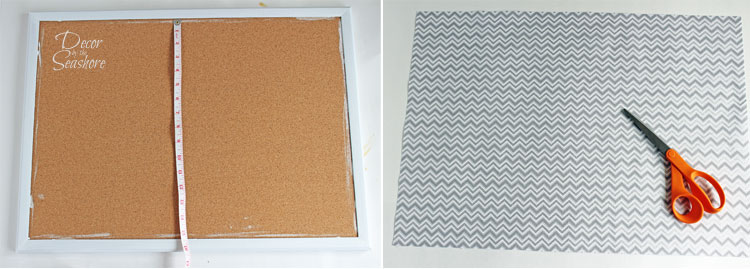 Add some spice to that old bulletin board with this easy DIY fabric-covered bulletin board tutorial! Just say no to boring cork!   decorbytheseashore.com