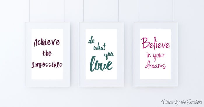 These free motivational printables are the perfect inspiration for creatives! There are three different prints for you to choose from with color and black & white options. In need of some home or office decor? Hang these up for some extra inspiration and motivation! | decorbytheseashore.com