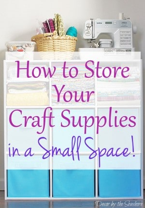 Need help organizing and storing your craft supplies in a small space? Check out these helpful craft storage tips and follow the easy instructions to organize your craft supplies! These small space craft storage ideas are perfect for small home and apartment living! | decorbytheseashore.com