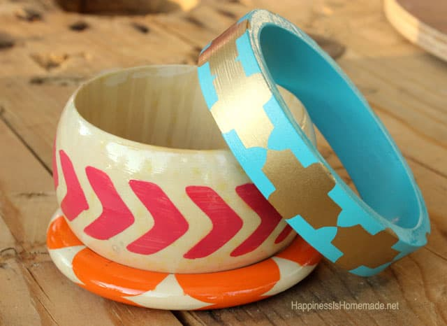 Happiness is Homemade- Painted Wood Bracelets