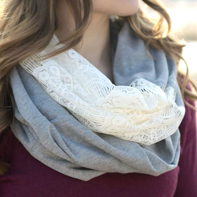It's Always Autumn- lace knit infinity scarf
