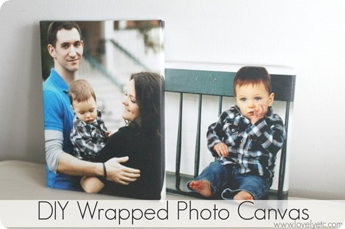 DIY Wrapped Photo Canvas- Lovely Etc.