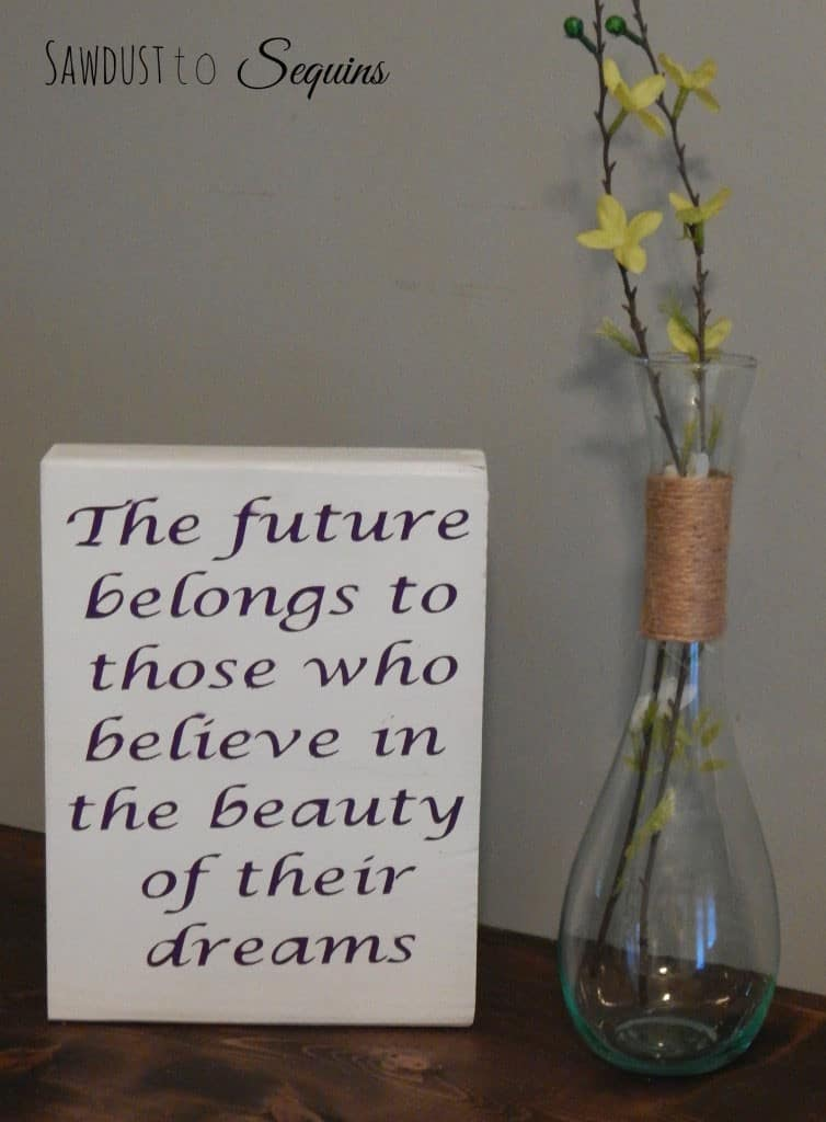 DIY Wooden Quote Block- Sawdust to Sequins