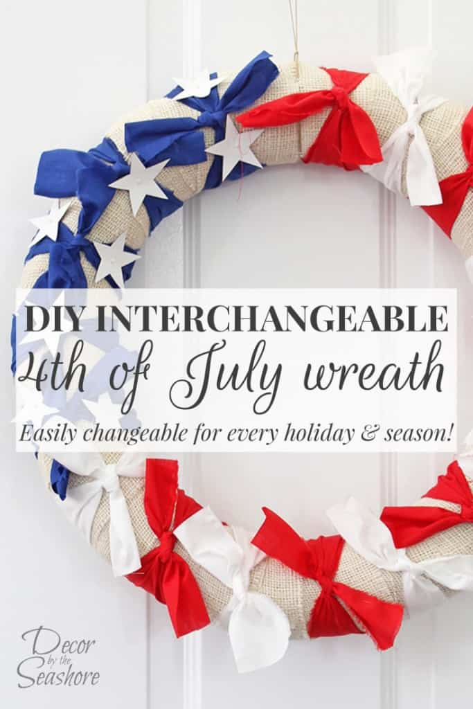 LOVE this DIY interchangeable 4th of July wreath! The best part is you can switch out the accessories for the next holiday since it's interchangeable! So, so smart! This is the perfect way to show that patriotic pride! | decorbytheseashore.com