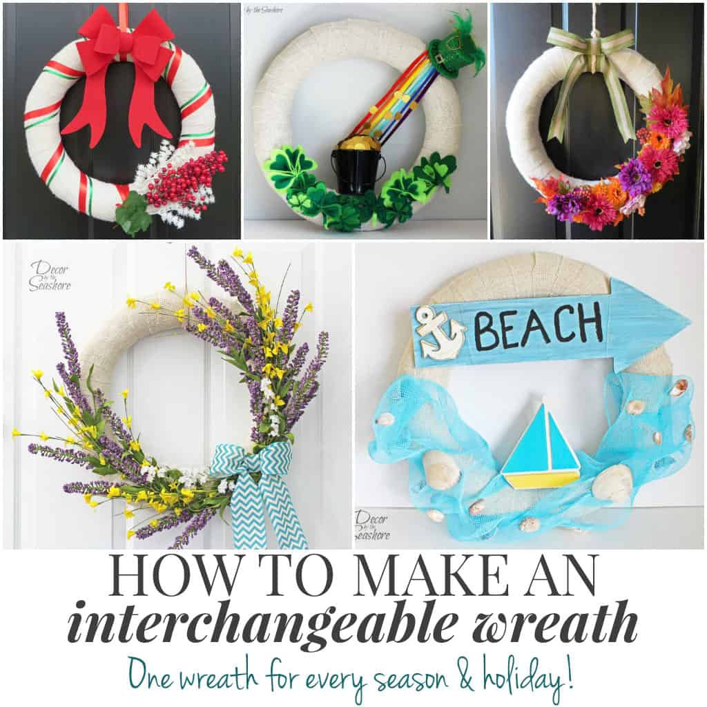 This is such a genius idea! Make an interchangeable wreath and just use the same wreath form all year long. Just change out the accessories! A totally brilliant way to hang a seasonal wreath on your door without buying and storing a bunch of wreath forms! | decorbytheseashore.com