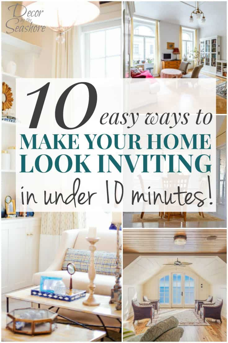 Just what I needed to get our home ready for guests this weekend! Such easy ways to make your home look inviting, and the best part is they don't take long at all! Perfect for those last-minute finishing touches before the guests arrive! | decorbytheseashore.com