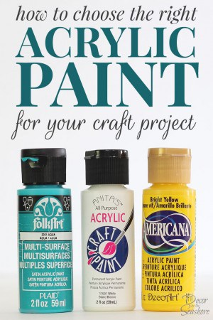 I always use acrylic paints for my DIY projects, so this is super helpful for figuring out how to choose the right acrylic paint for the project! No more standing in the paint aisle debating which paint to buy for hours at a time! | decorbytheseashore.com