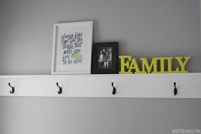 DIY Wood Shelf with Hooks- The DIY Dreamer