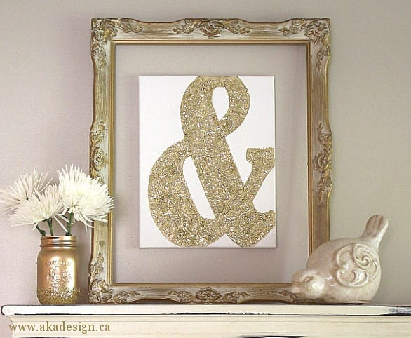 Gold glitter canvas ampersand- AKA Design