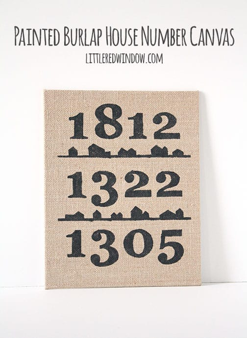 Painted house number canvas- Little Red Window