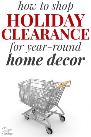 I'm gonna let you in on a little secret... shopping holiday clearance is an insane way to get killer deals on year-round home decor! Check out this easy trick to decorating your home on a budget here! | decorbytheseashore.com