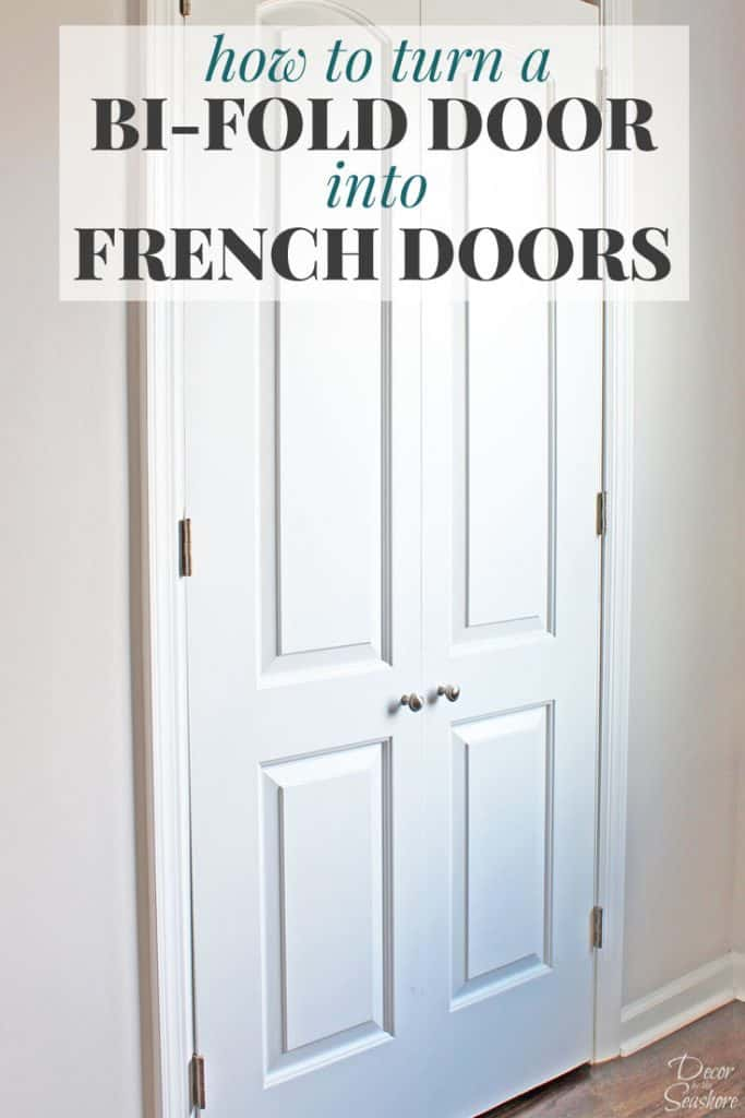 Turn your bi-fold door into French doors with this easy tutorial! It shows you exactly how to create your own custom closet with beautiful DIY French doors. This budget-friendly closet makeover will have a huge impact on your home! | decorbytheseashore.com