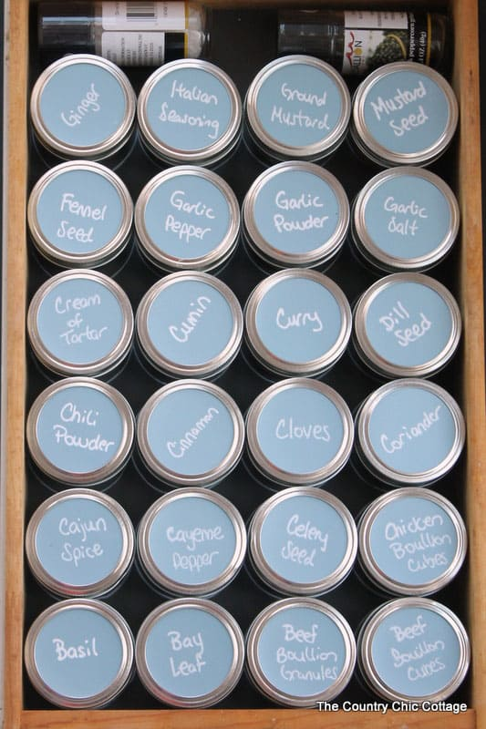 Mason Jar Spice Organization from The Country Chic Cottage