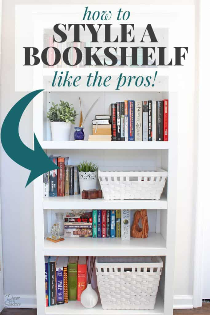 Book lovers take note! It's actually super simple to style a bookshelf! Follow these easy instructions to decorate your bookcase like the professionals without spending a dime! | decorbytheseashore.com