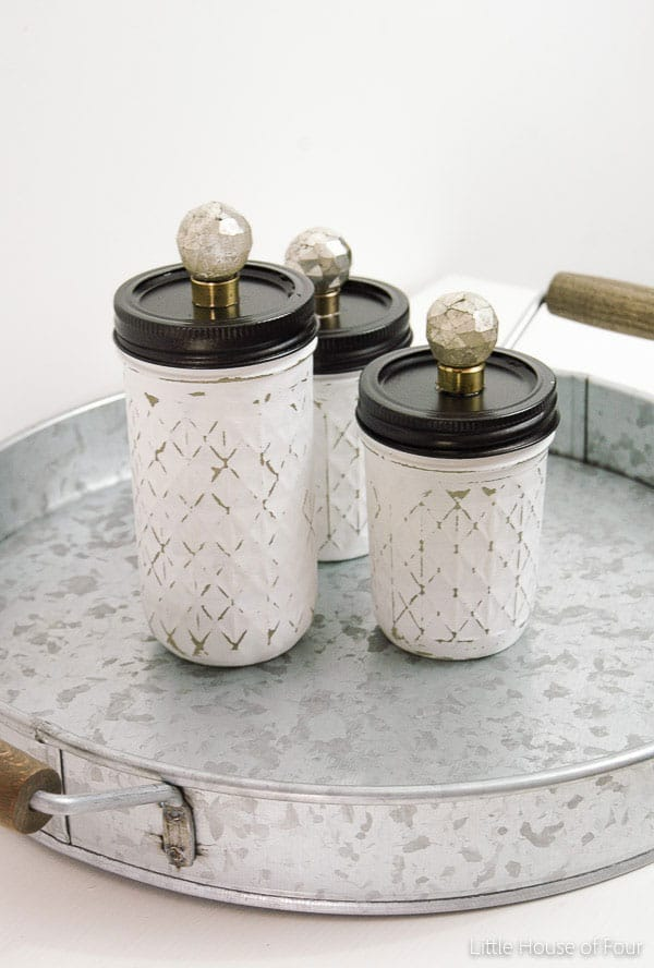 Painted and Distressed Mason Jar Storage from Little House of Four