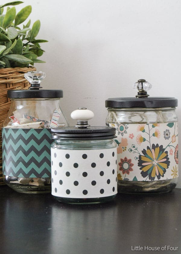 Recycled Glass Jars into Stylish Storage from Little House of Four
