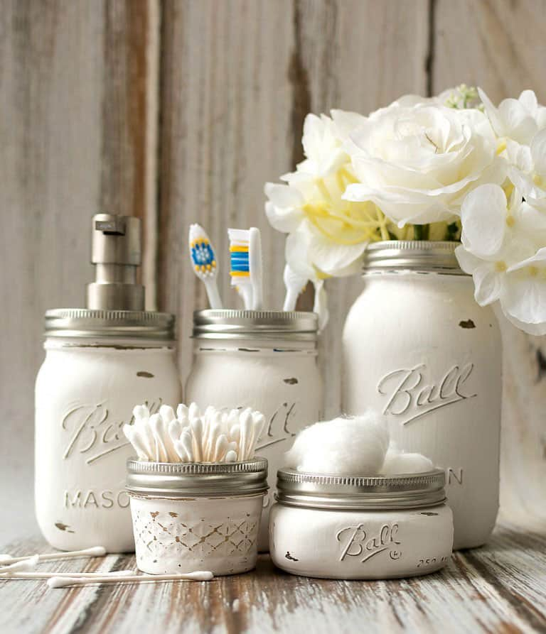 Mason Jar Bathroom Accessories from Mason Jar Crafts Love