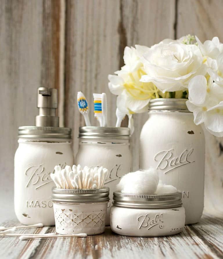 Mason Jar Bathroom Accessories from Mason Jar Crafts Love