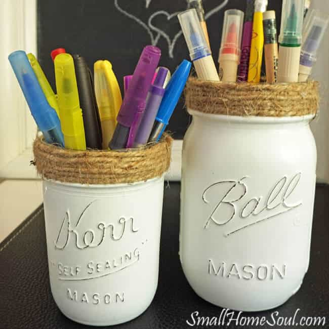 Mason Jar Pencil Holders from Small Home Soul