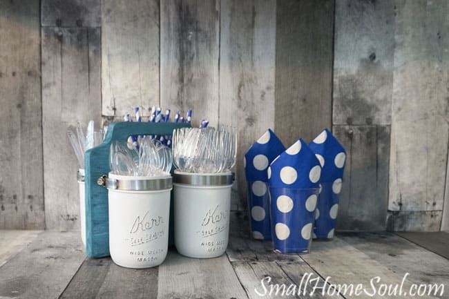 Mason Jar Utensil Caddy from Small Home Soul