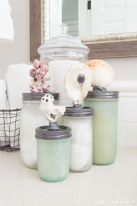 Sea Glass Mason Jar Storage from Table and Hearth