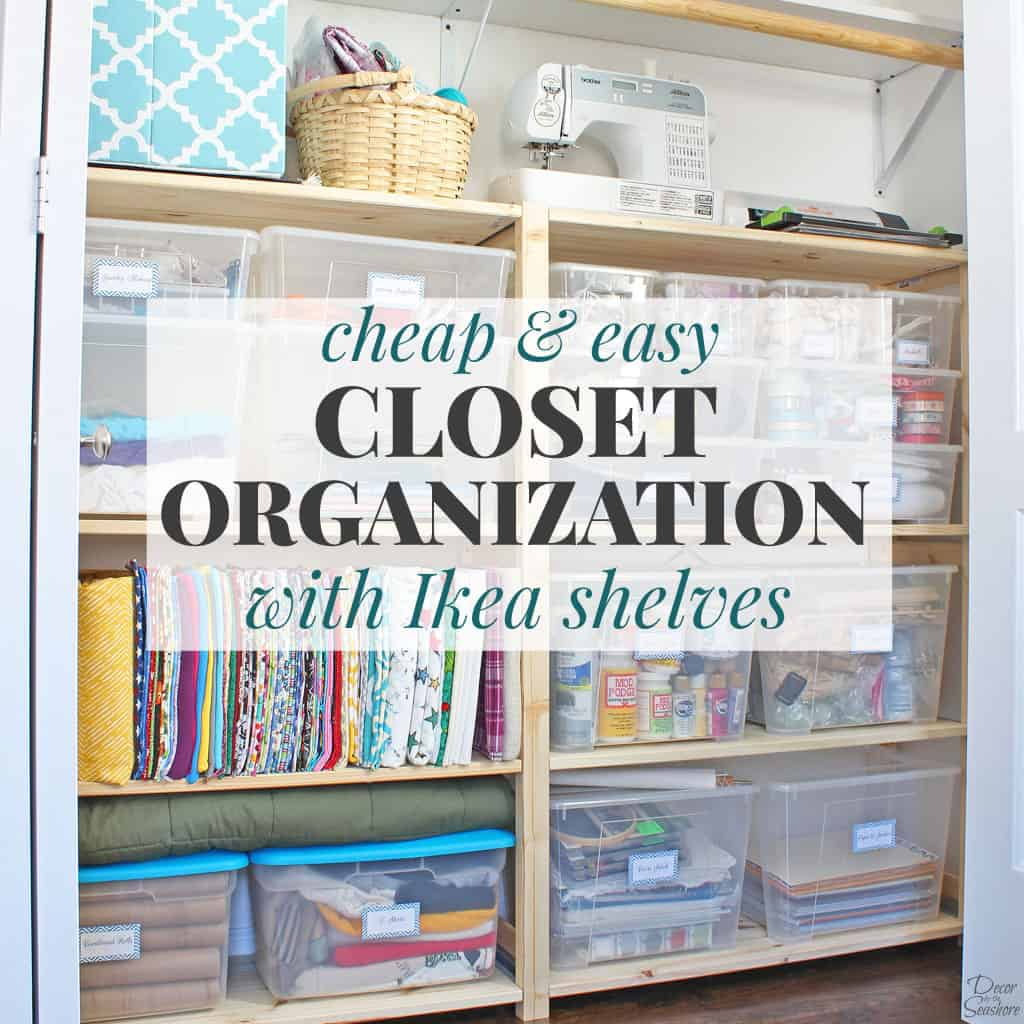 It's too easy to organize your closet with these cheap Ikea Ivar shelves! What a great closet organizer idea! Best of all, this simple closet organization system doesn't require any special tools or assembly! | decorbytheseashore.com