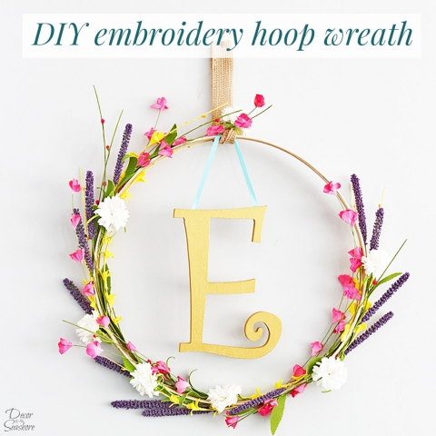 DIY Monogram Embroidery Hoop Wreath