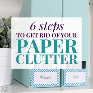 Paper clutter overwhelming your home? Learn how you can get rid of the paper clutter in just 6 steps! These paper clutter solutions will help you organize your paperwork and eliminate all those papers. Paper clutter organization is really simple with these easy instructions! | decorbytheseashore.com