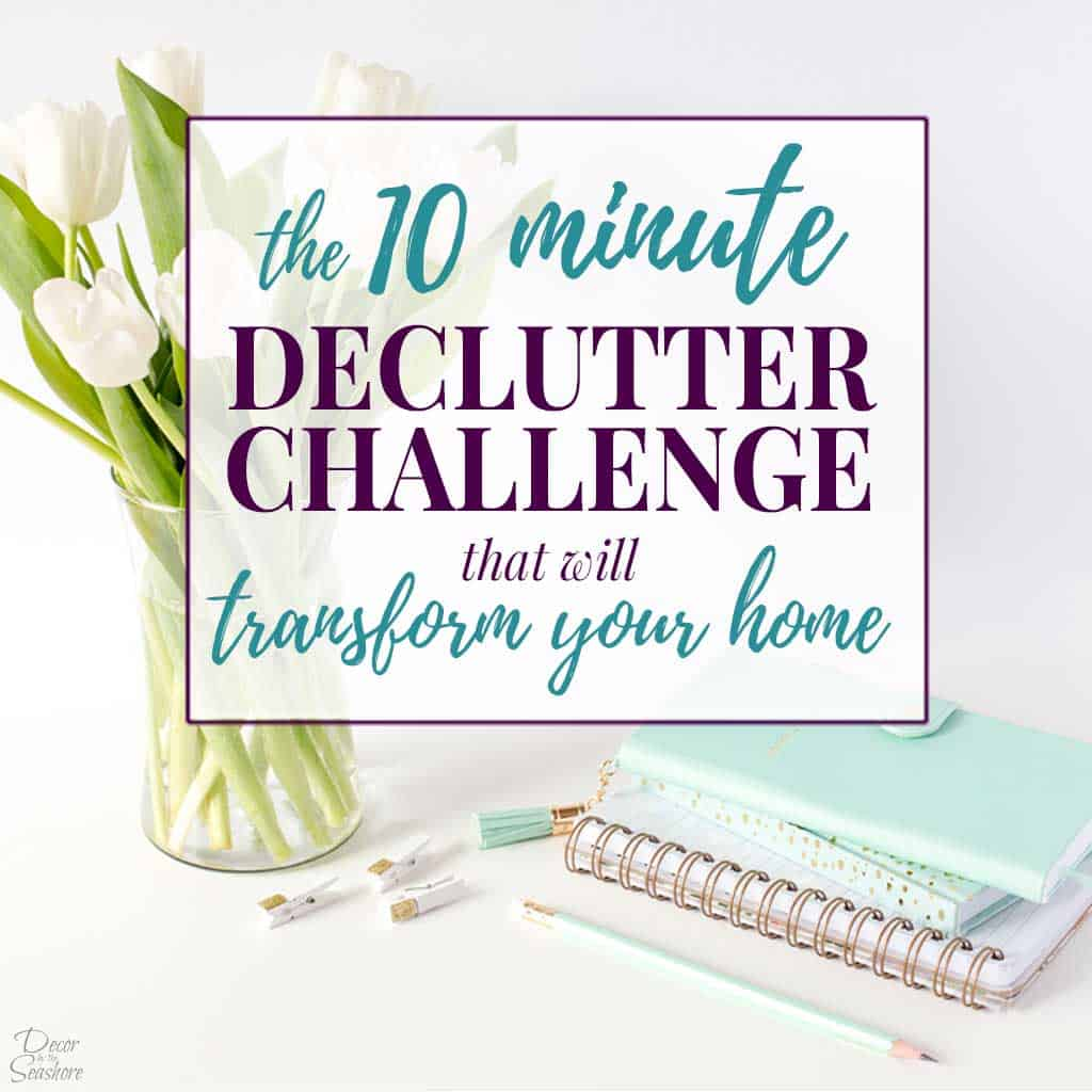Overwhelmed with clutter? Declutter your home in just 10 minutes a day with this easy declutter challenge! It takes you step by step through the entire decluttering process and includes a free declutter challenge printable with a checklist to keep track of your progress. You can do the decluttering challenge for a week, 30 days, or however long you need to declutter your home! #declutter #decluttering #declutterchallenge #declutteringprintable #freeprintable #declutteringtips #organizingtips