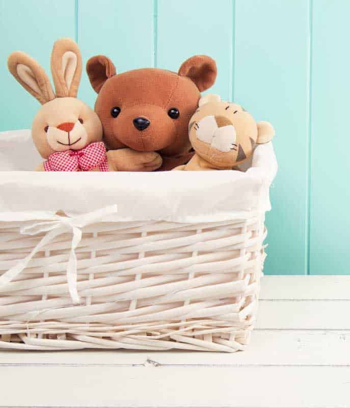 Decluttering toys basket of stuffed animals